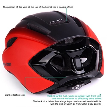 Basecamp ACE Aero Rennrad Fahrrad Helm (Schwarz/Rot) - 2
