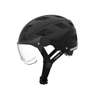 Abus Erwachsene Hyban + Fahrradhelm, Black-Clear Visor, M (52-58 cm) - 1