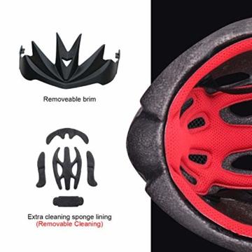 AUTLEAD Fahrradhelm mit Licht, Mountain Bike Helm Herren Damen, Verstellbar Radhelm mit Abnehmbarem Visier und Polsterung, Erwachsene, Trekking & City Rennradhelm Schwarz, CPSC (55-61cm MV50) - 5