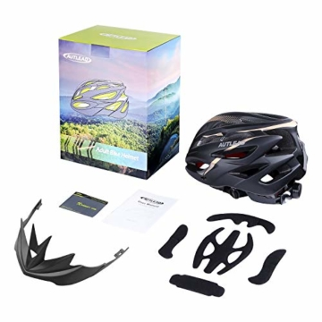 AUTLEAD Fahrradhelm mit Licht, Mountain Bike Helm Herren Damen, Verstellbar Radhelm mit Abnehmbarem Visier und Polsterung, Erwachsene, Trekking & City Rennradhelm Schwarz, CPSC (55-61cm MV50) - 8