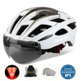 Fahrradhelm,CE-Zertifikat,Fahrradhelm mit Abnehmbarer Schutzbrille Visor Shield für Männer Frauen Mountain & Road Fahrradhelm Einstellbarer Sicherheitsschutz Skateboarding Ski & Snowboard - 1