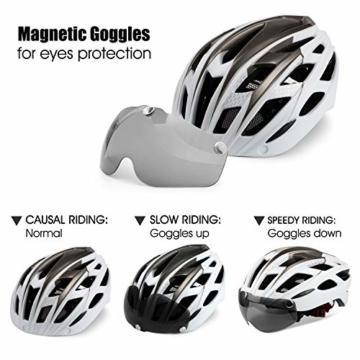 Fahrradhelm,CE-Zertifikat,Fahrradhelm mit Abnehmbarer Schutzbrille Visor Shield für Männer Frauen Mountain & Road Fahrradhelm Einstellbarer Sicherheitsschutz Skateboarding Ski & Snowboard - 6