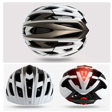 KINGLEAD Fahrradhelm mit Schild Visier, Unisex Geschützter Fahrradhelm für Fahrradfahren Racing Skateboarding Outdoors Sports Safety Superleichter Verstellbarer Fahrradhelm - 2