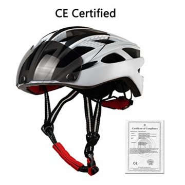 KINGLEAD Fahrradhelm mit Schild Visier, Unisex Geschützter Fahrradhelm für Fahrradfahren Racing Skateboarding Outdoors Sports Safety Superleichter Verstellbarer Fahrradhelm - 3